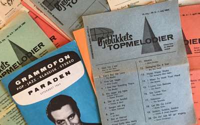 Reklamemateriale – hitlister o.a. fra Sahlertz Radio i Odense